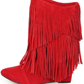 Urban Cowgirl Red Wedge Fringe Boots