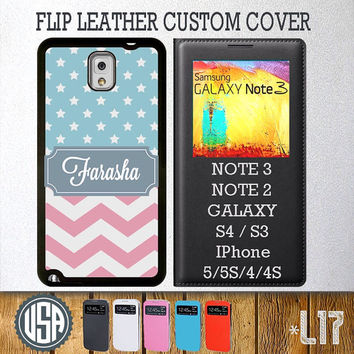 Custom Your Name Chevron star Pattern Flip Leather Cover @ Samsung Galaxy S4 case S3 , Samsung Note 3 Note 2 , IPhone 5 5S , IPhone 4 4S L17