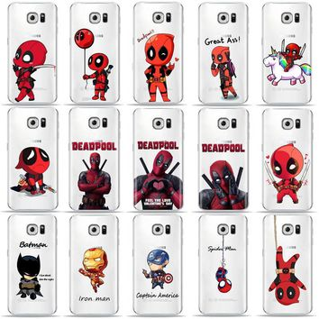 Deadpool Dead pool Taco Funny Marvel Batman Chibi  Phone Case For SamSung S6 S7 Edge S8 S9 Plus S5 A3 A5 A7 2017 Soft TPU Cover for A6 2018 Case AT_70_6