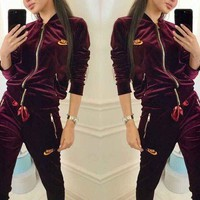 NIKE Sports Suit Two Piece Set Velvet Zipper Two Piece Burgundy