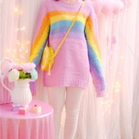Pink Rainbow Knit Pullover