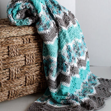 Afghan - Ripple Crochet Blanket - Teal, White, and Grey