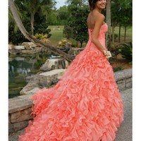 Stunning Orange Ball Gown Sweetheart High-low Asymmetrical Prom Dress