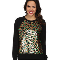 MICHAEL Michael Kors Cheetah Sequin Long Sleeve Terry Top Black - Zappos.com Free Shipping BOTH Ways