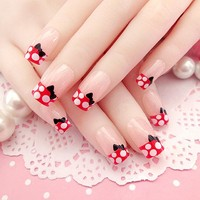 24 Pcs Fashion Long Full Cover False Nails French lovely Fake Nails For Party use with dot and bowknot nail tips glue sticker