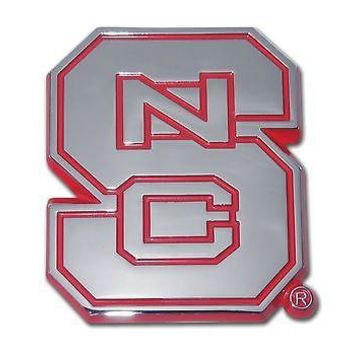 North Carolina State Wolfpack Chrome Metal Auto Emblem (Red Outlined) NCAA