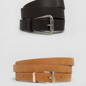 ASOS CURVE 2 Pack Jeans And Skinny Belt Pack at asos.com