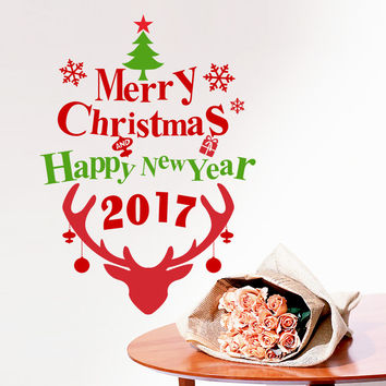 2017 Merry Christmas Happy New Year Deer Wall Sticker Decals Snowflake Christmas store window glass Poster Mural Wall Art