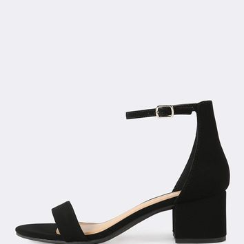 Nubuck Ankle Strap Low Heel Sandals