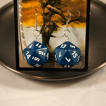 Blue D20 Earrings - Pearlescent Dice Jewelry