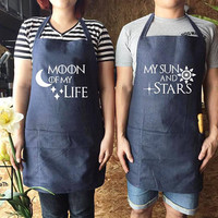 Moon of My Life, My Sun and Stars, Game of Thrones Apron set, couple gifts, canvas jeans Apron, Wedding gift, Family Cooking