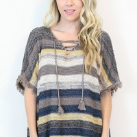 Striped Lace Up Poncho Sweater