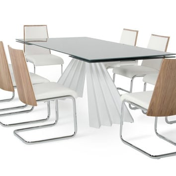 Modrest Milk & Morgan 9pc Modern White Dining Set