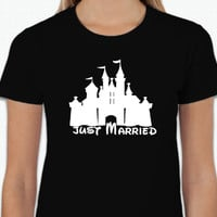 Disney Castle Just Married (Multi-Color Choices) Womens T-Shirt