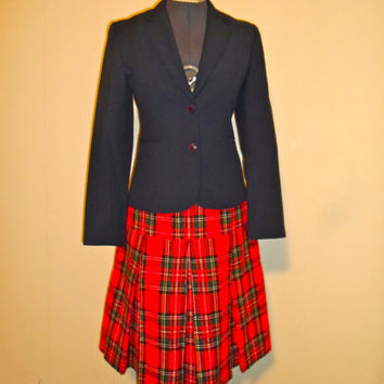 Hand Sewn Plaid Flannel high waisted Full Skirt, with pleats red green and yellow, kilt like school girl