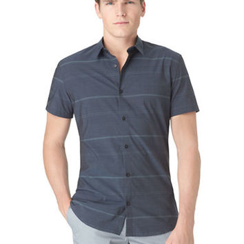 Calvin Klein Slim Fit Horizontal Stripe Plainweave Sport Shirt