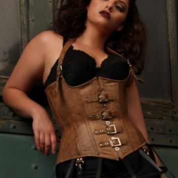 Plus Size Ophelia Underbust Leather Corset | Hips & Curves | Hips & Curves