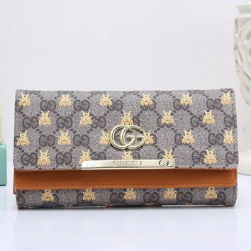 DCCK GUCCI Bee Women Fashion Embroidery Leather Buckle Wallet Purse3