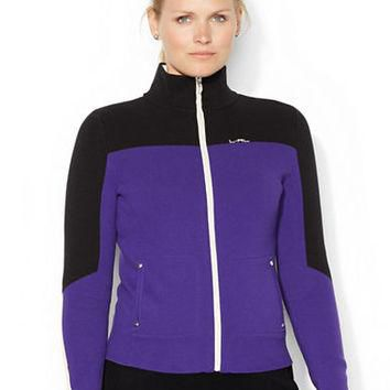 Lauren Ralph Lauren Plus Full Zip Color Blocked Sweater