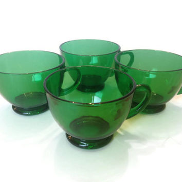 Emerald Green Glass Tea Cups, Anchor Hocking, Fire King, Charm, S/4