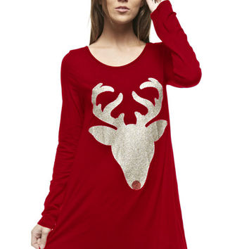 Glitter Rudolph Top - 3 Colors