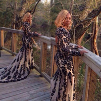 African Long Sleeve Black Lace Mermaid Prom Dresses 2016