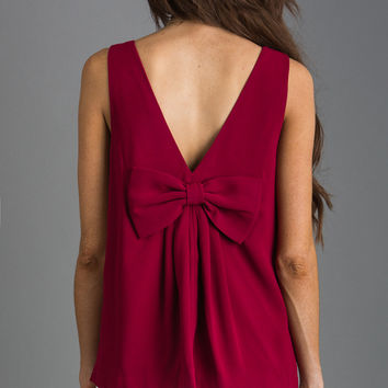 Melrose Red Bow Back Top