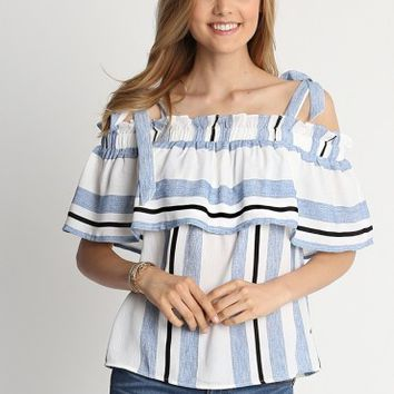 Munich Off Shoulder Stripe Top