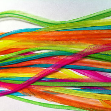Neon Feather Extensions Bright Neon Rave Blend, 5 Long Real Rooster Feathers for Feather Hair Extensions