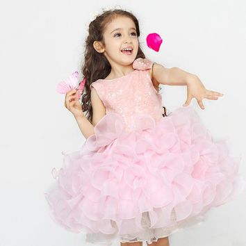 Flower Girl Dresses for Wedding White and Pink Sequins Ball Gown Children Princess Party Tutu Skirt First Communion