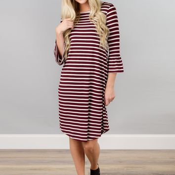 Striped Bell Sleeve Midi