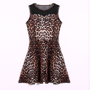 Sundress Patchwork Leopard Slim Dress