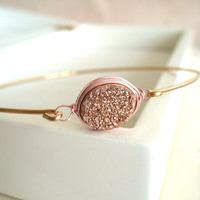 Oval Rose Gold Druzy Bangle Gift for her Under 50 Titanium finish Fall winter jewelry Vitrine