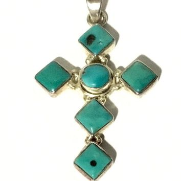 Sterling Silver Turquoise Cross Pendant