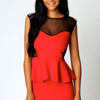 Gracie Stud Shoulder Mesh Insert Peplum Dress