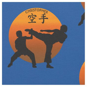 Two Karate Fighters With Rising Sun Fabric