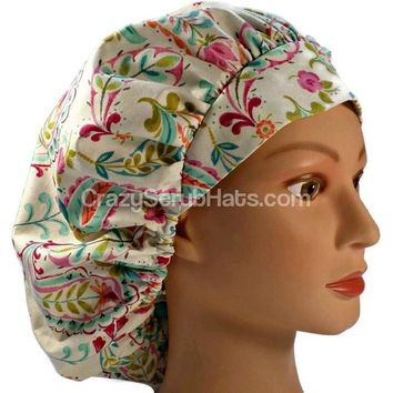 Women's Bouffant Surgical Scrub Hat Cap in Happy Nest Paisley w/ Elastic and Cord-Lock
