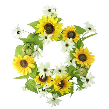 """22"""" Decorative Yellow Sunflower and Cream White Daisy Artificial Floral Wreath - Unlit"""