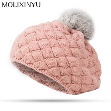 MOLIXINYU 2018 New Baby Winter Hat Knit Crochet Baby Beret Girl Cap For Children Cotton Warm Cap Cute Warm Kid Beanie Unisex