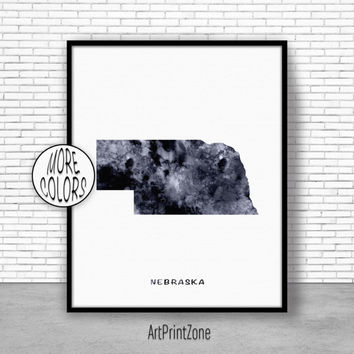 Nebraska Art Print Nebraska Decor Nebraska Print Nebraska Map Art Print Map Artwork Map Print Map Poster Office Art Print ArtPrintZone