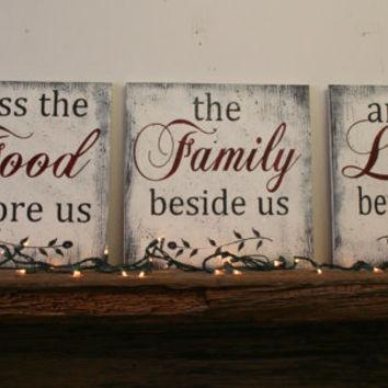 Bless The Food Before Us Wood Wallhanging Wood Kitchen Sign Wood Dining Room Sign Distressed Wood Home Decor Rustic Chic Wedding Gift