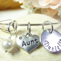 Auntie bracelet Aunt Personalized Bracelet Aunt Jewelry Expandable Hand stamped Jewelry