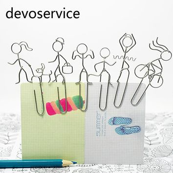 6PCS/LOT Metal Man Shape Paper Clips Funny Silvery Kawaii Sports Bookmark Office School Stationery Marking Clips
