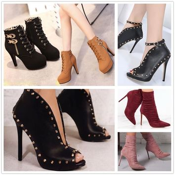 Women Rivets Ankle Sandals High Heels Peep Toe Stilettos  Gladiator Shoes Boots