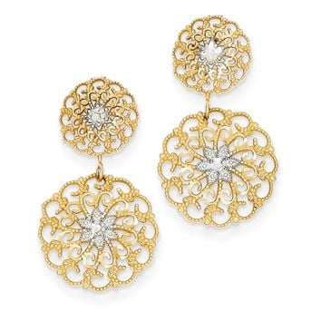 Filigree Medallion Drop Earrings in 14k Yellow Gold and Rhodium