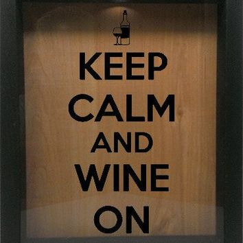 "Wooden Shadow Box Wine Cork/Bottle Cap Holder 9""x11"" - Keep Calm and Wine On with Bottle and Glass"