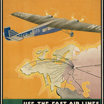 "c.1930s ""CCCP Russia Fastest By Air"" European Travel Poster- -Antique-Old-Vintage Reproduction Photograph/Photo: Gicclee Print. Frame it!"