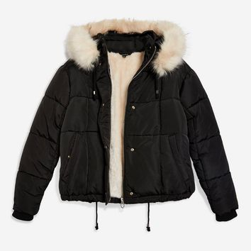Faux Fur Lined Quilted Puffer Jacket | Topshop
