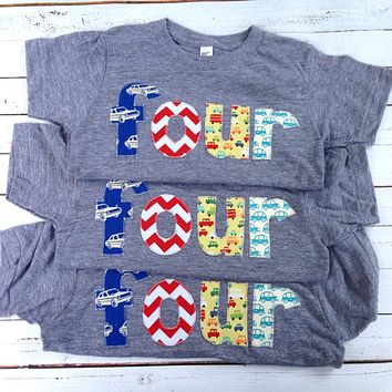 four 4 years old 4th Birthday Shirt shirt red chevron, royal retro cars, yellow aqua cars for boys blue grey Birthday Shirt primary colors