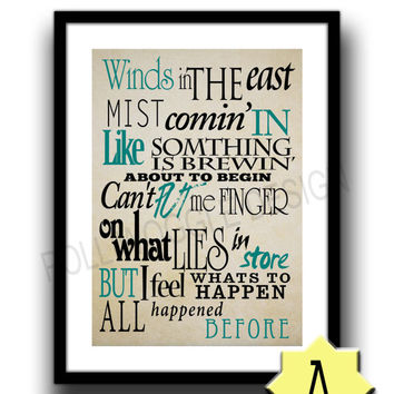 Mary Poppins quote poster, winds in the east, minimalist, nostalgic, nostalgia, wall decor, typography, A3, A4, Modern, Classic